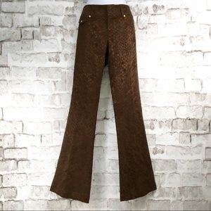 Cache Luxe Brown Satin Pants Flare